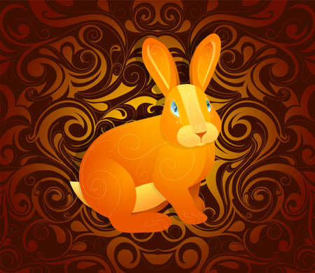 year of the rabbit: Rabbit as symbol for year 2023 by Chinese traditional horoscope with orient ornament on backdrop