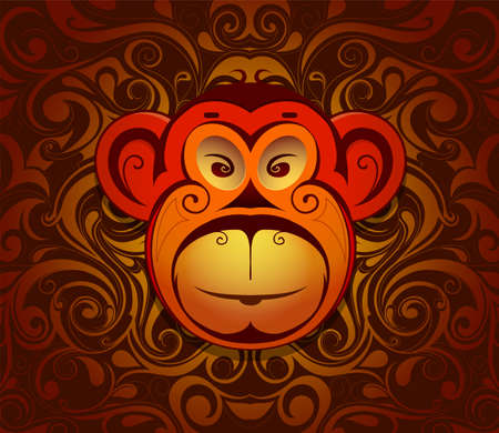 chimp: Monkey chimp as symbol for year 2016 by Chinese traditional horoscope with orient ornament on backdrop Illustration