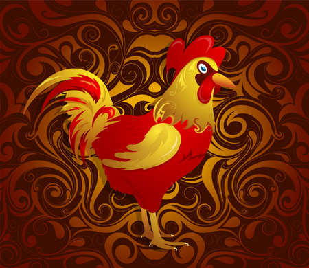 animal cock: Rooster as symbol for year 2017 by Chinese traditional horoscope with orient ornament on backdrop Vettoriali