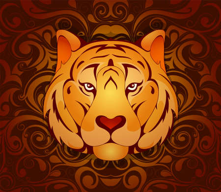 Tiger as symbol for year 2010 by Chinese traditional horoscope with orient ornament on backdrop