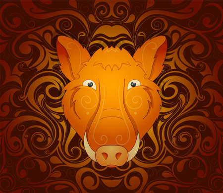 chinese horoscope: Boar pig as symbol for year 2019 by Chinese traditional horoscope with orient ornament on backdrop