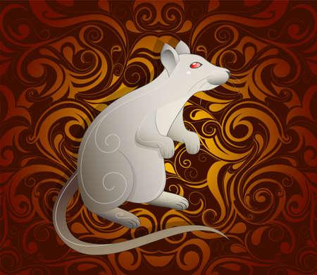 rata caricatura: Rata como símbolo para el año 2020 en un horóscopo tradicional china con el ornamento orientar en el contexto