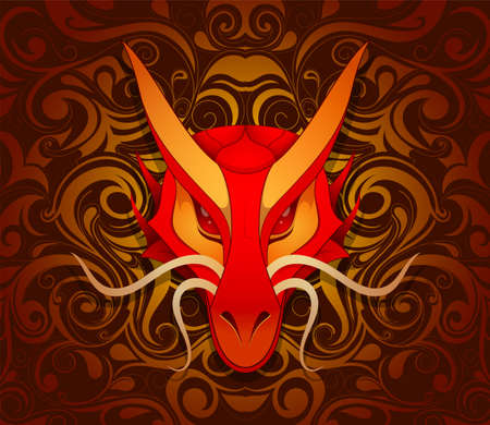 dragon fire: Dragon as symbol for year 2012 by Chinese traditional horoscope with orient ornament on backdrop
