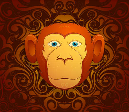 asian cartoon: Monkey chimp as symbol for year 2016 by Chinese traditional horoscope with orient ornament on backdrop Illustration