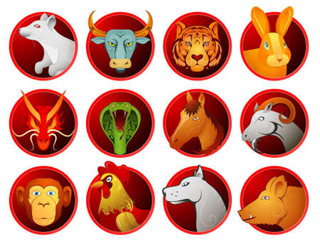 year of the rabbit: Chinese zodiac symbols as cartoon animals on badges. Full set of twelve signs Illustration