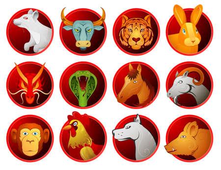 Chinese zodiac symbols as cartoon animals on badges. Full set of twelve signs Illustration