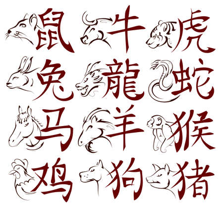 Set of Chinese zodiac signs ink sketches with calligraphic hieroglyphs for each