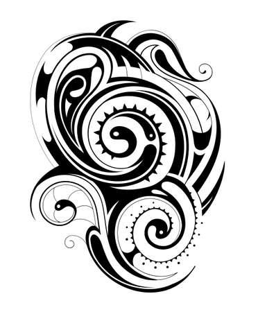 maories: origen maor� del tatuaje del ornamento forma aislada en blanco