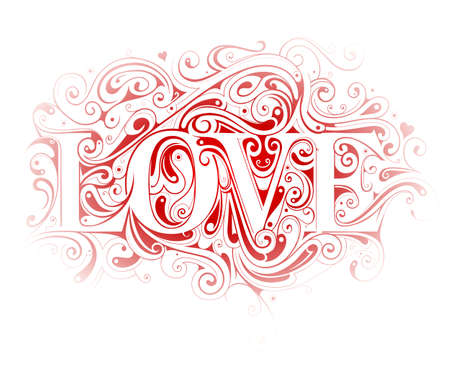 decorative design: Valentines Day greeting card design with LOVE lettering as swirls ornament Illustration