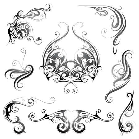 Set of decorative graphic design elements in retro style