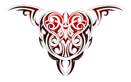 black wings: Heart shape tattoo with tribal and ethnic elements