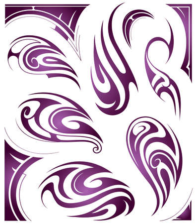 origin: Maori origin tribal tattoo set isolated on white