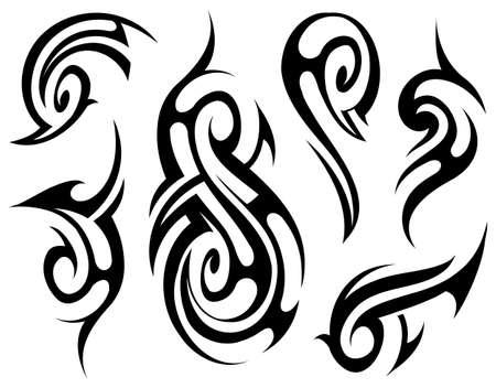 conjunto tatuaje tribal en el estilo de ascendencia maorí