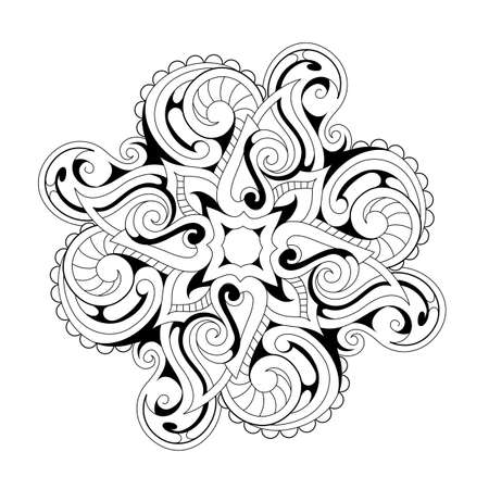 symmetry: Symmetry flower ornament with ethnic elements. Good for coloring book and zentangle