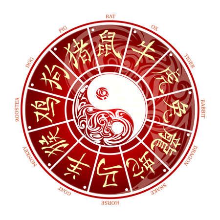 rueda de la fortuna: la rueda del zodiaco chino con signos jeroglíficos y la traducción correspondiente Vectores