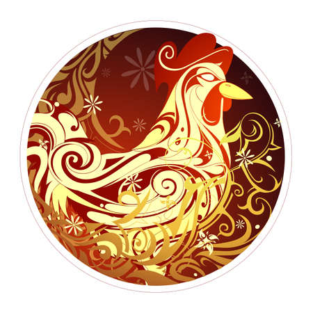 Rooster as symbol of 2017 New Year by Chinese horoscope Stok Fotoğraf - 53285319