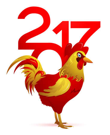 chinese new year element: Chinese New Year 2017 emblem Rooster isolated on white Illustration