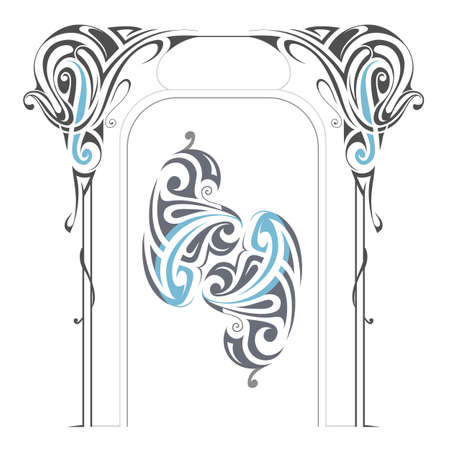 picture card: Art Nouveau style design elements isolated on white