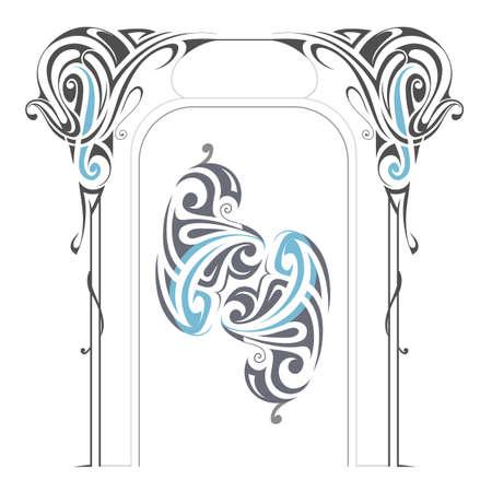Art Nouveau style design elements isolated on white