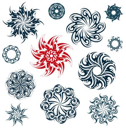 Conjunto de formas de estrellas tribales arte en diferentes estilos étnicos como los maoríes, gótico y celta