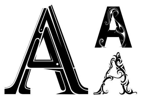 Decorative letter shape. Font type A with variations Vector Illustration