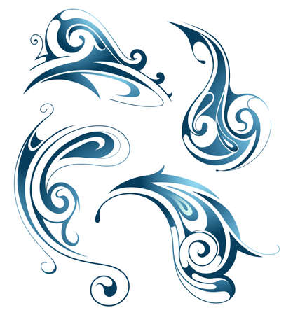 Water waves. Wet set with ethnic ornament abstractions Vector Illustration