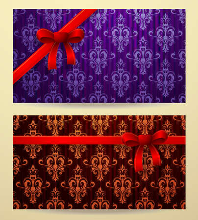 vouchers: Horizontal card design with bow and ribbons on classical ornament backdrop . Template for gift cards, discount cards, vouchers and coupons.