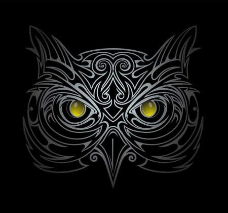 head wise: Silver owl head tattoo shape in the dark Illustration