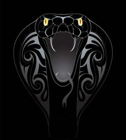 Silver snake tattoo shape on black backdrop