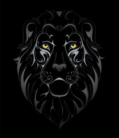 Silver lion head tattoo shape on black