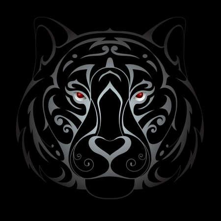 head shape: Silver tiger head tattoo shape in the dark Illustration
