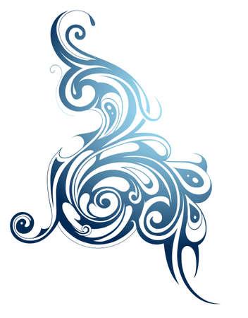 blue swirls: Water swirls as liquid splash isolated on white