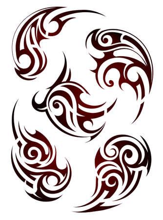 tribales: Conjunto de formas de tatuaje estilo étnico maoríes Vectores