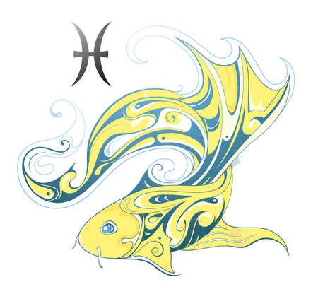 pisces sign: Pisces creative design shape with horoscope sign