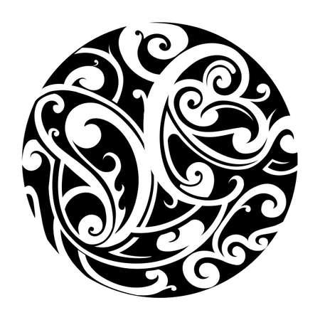 maories: Forma de c�rculo con el ornamento tatuaje maor� de estilo y elementos florales Vectores