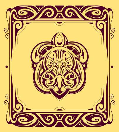 arabesque pattern: Decorative design element with retro style frame