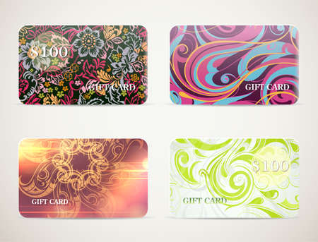 vouchers: Set of cards designs for gift cards, vouchers and coupons templates