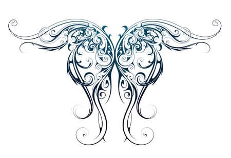天使の翼形状としてゴシック様式のタトゥー
