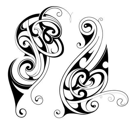 Maori ethnic tattoo shapes isolated on white
