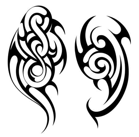 arm tattoo: Ethnic tattoo shape in Maori ethnic style