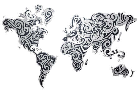 continent: Decorative world map with various ornaments and textures on each continent