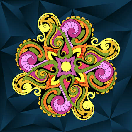 retro patterns: Indian ethnic mandala ornament on mosaic backdrop