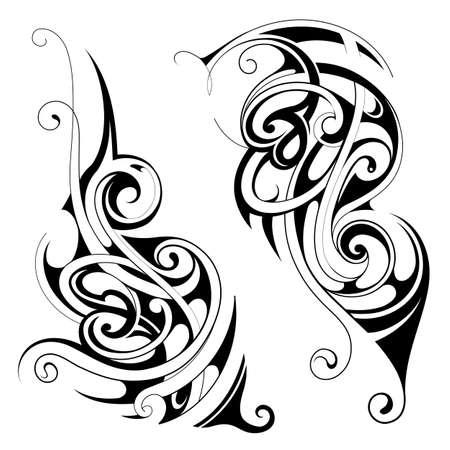 Ensemble d'ornements de tatouage décoratif avec style ethnique Maori