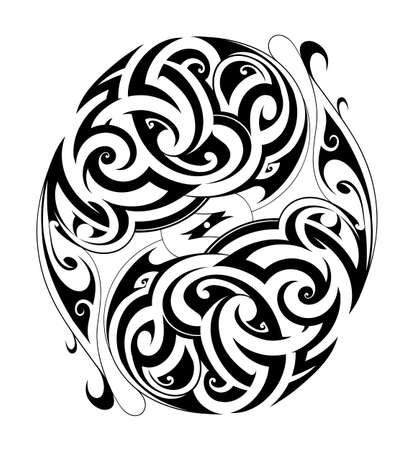 ethnic tattoo: Maori style ethnic tattoo in round shape