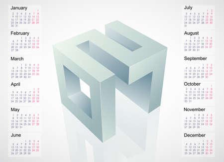 schedules: Calendar 2017 year template design with 3D emblem