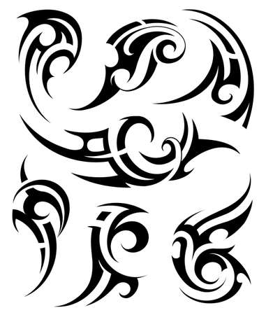Set di tatuaggio d'arte tribale con vari stili etnici
