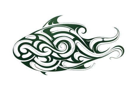 decorative fish: Decorative fish shape as body art tattoo Illustration