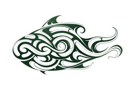 decorative fish: Decorative fish shape as body art tattoo Illustration
