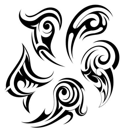 Tribal art tattoo set in Gothic and Maori style