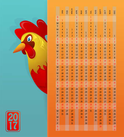 calender: Rooster as animal sign for 2017 by Chinese zodiac with vertical calendar